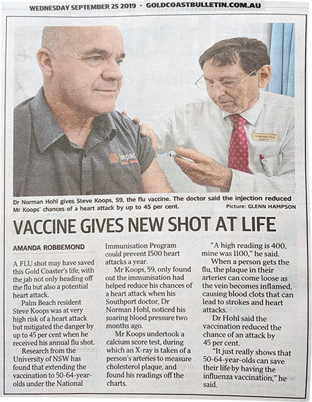 Dr Hohl giving flu injection article in Gold Coast Bulletin